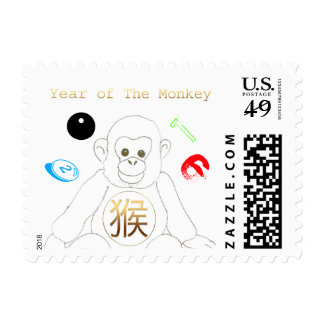 Little monkey playing with 2016 Chinese New Year S Postage