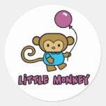 Little Monkey Round Stickers