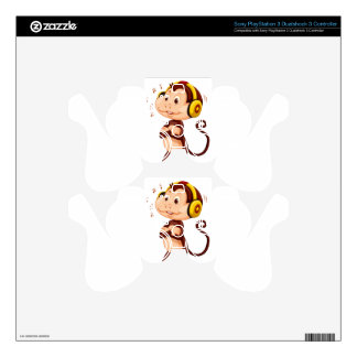 Little monkey with headphone on his head PS3 controller decals