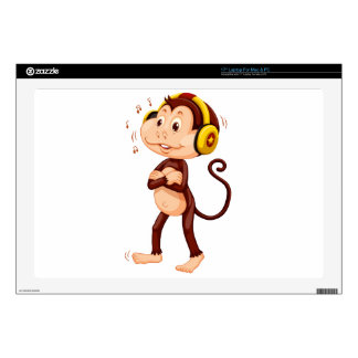 Little monkey with headphone on his head skin for laptop