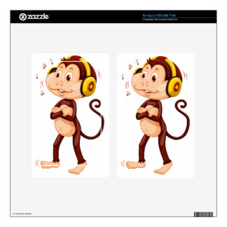 Little monkey with headphone on his head skins for kindle fire