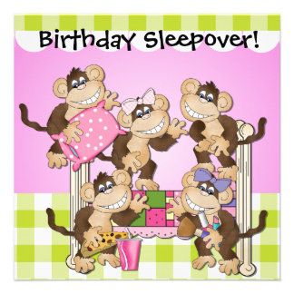 Little Monkeys Birthday Sleepover Invites