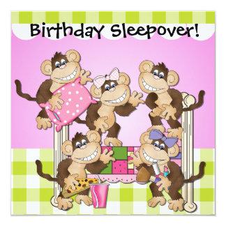 "Little Monkeys Birthday Sleepover Invites 5.25"" Square Invitation Card"