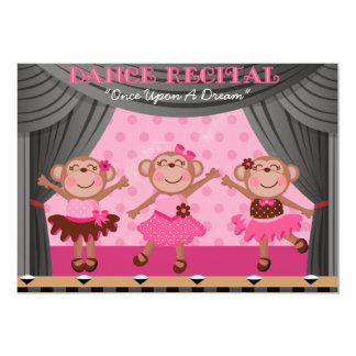Little Monkeys Dance Recital Invitations