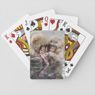 Little monkeys in hot spring, Japan. Playing Cards