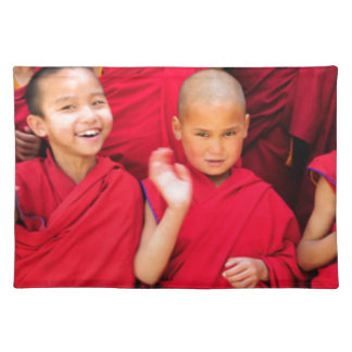Little Monks in Red Robes Cloth Placemat