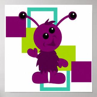 Little Monster Alien Creature Print