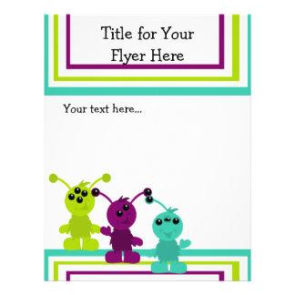 """Little Monster Alien Creatures 8.5"""" X 11"""" Flyer"""