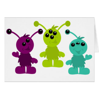 Little Monster Alien Creatures Greeting Card