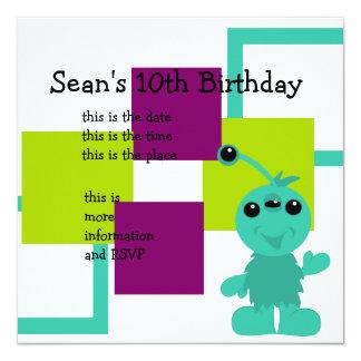 Little Monster Alien Creatures 5.25x5.25 Square Paper Invitation Card
