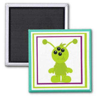 Little Monster Alien Creatures 2 Inch Square Magnet