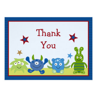 Little Monster Babies Baby Shower Thank You Card