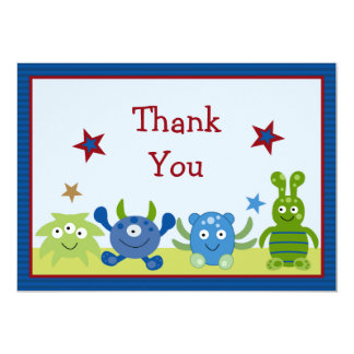 Little Monster Babies Baby Shower Thank You Card Personalized Invites