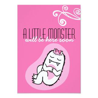 """Little Monster Baby Shower Invitation (girl) 5"""" X 7"""" Invitation Card"""