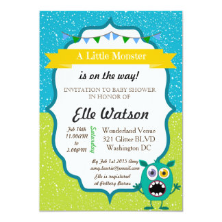 Little Monster Baby Shower invitations