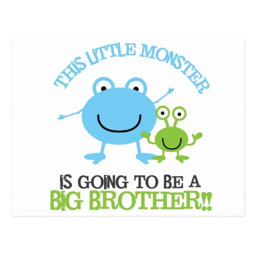 Little Monster Big Brother T-shirt Postcard
