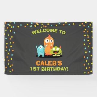 Little Monster Birthday Banner Boy Chalk Confetti