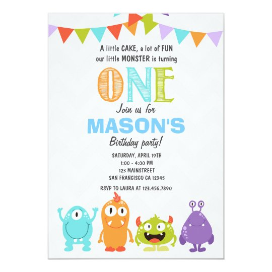 little monster birthday party invitation zazzle com