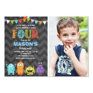 Little Monster Birthday Party Invitation Chalk