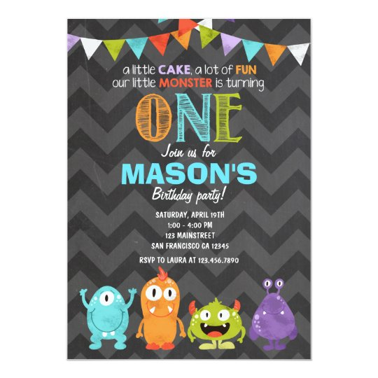 little monster birthday party invitation chalk zazzle com