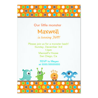 "Little Monster Birthday Party Invitations 5"" X 7"" Invitation Card"