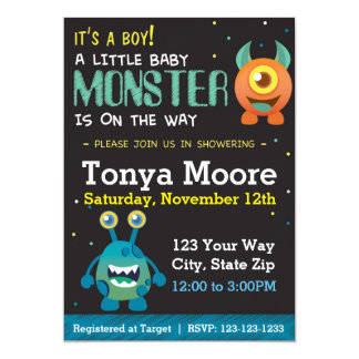 Little Monster Blue Baby Shower Invitation