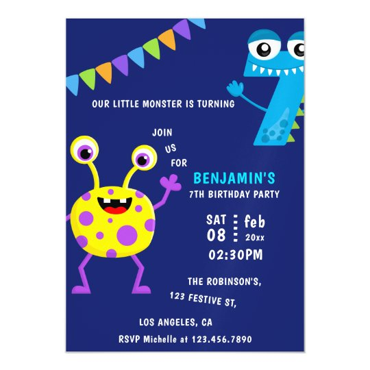 Little Monster Boy 7th Birthday Party Magnetic Invitation