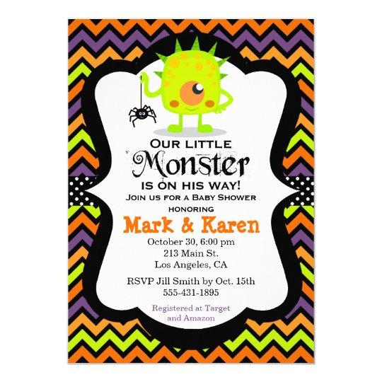 Little Monster Halloween Baby Shower Invitation Zazzle Com