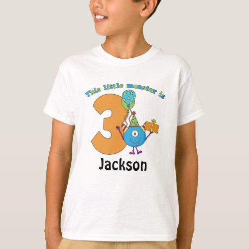 Little Monster Kids 3rd Birthday Personalized T_Shirt