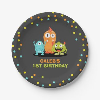 Little monster Paper Plates Birthday Party Boy