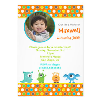 Little Monster Photo Birthday Party Invitations