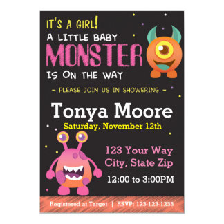 Little Monster Pink Baby Shower Invitation