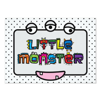 Little Monster -Text Doodles & Face (Bright) Card