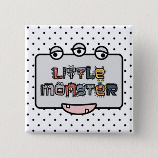 Little Monster -Text Doodles & Face (Pastel) Pinback Button