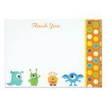 """Little Monster Thank You Note Cards 3.5"""" X 5"""" Invitation Card"""