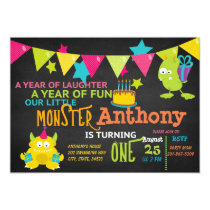 Little Monster Turning ONE Birthday Invitation