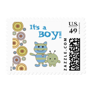 Little Monsters Baby Shower Postage Stamp