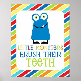Little Monsters Brush Their Teeth Children s Print