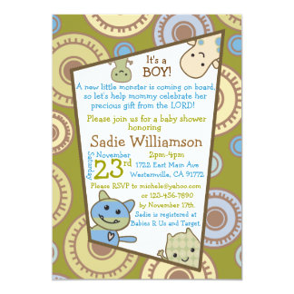 Little Monsters Christian Baby Shower Invitation