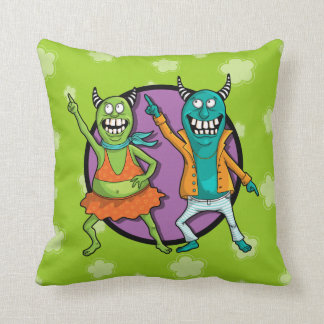 Little Monsters Disco Dancing Party! Throw Pillow