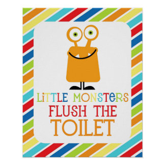 Little Monsters Flush the Toliet Children s Print