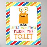 Little Monsters Flush the Toliet Children's Print