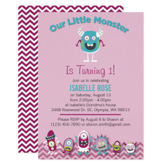Little Monsters Girl Birthday Party Invitation