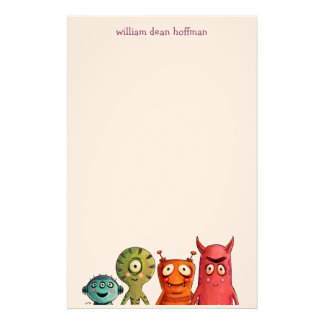 Little Monsters Kids Stationery Paper