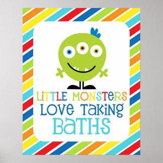 Little Monsters Love Taking Baths Children's Print