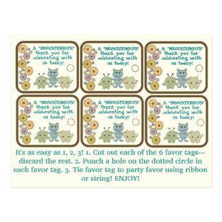 Little Monsters Party Favor Tags Postcard
