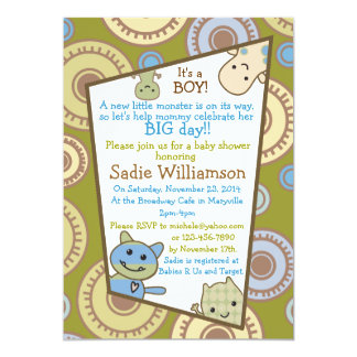 Little Monsters Peeking Baby Shower Invitation