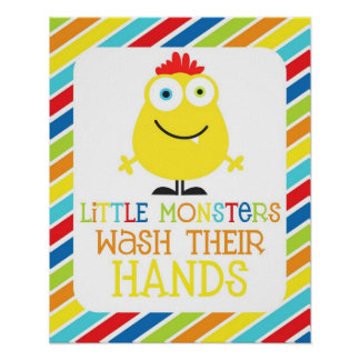 Little Monsters Wash Their Hands Children s Print