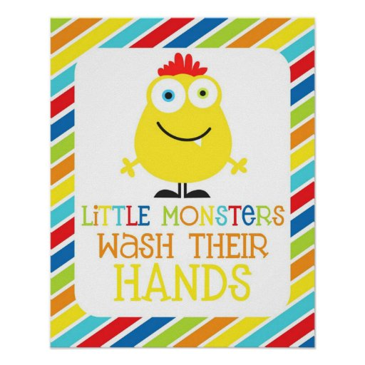Little Monsters Wash Their Hands Children's Print