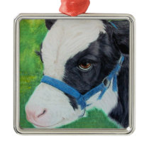 Little Moo Metal Ornament